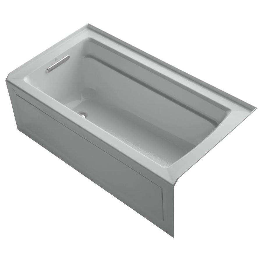KOHLER Archer Ice Grey Acrylic Rectangular Alcove Bathtub with Left-Hand Drain (Common: 32-in x 60-in; Actual: 20.25-in x 32-in x 60-in)