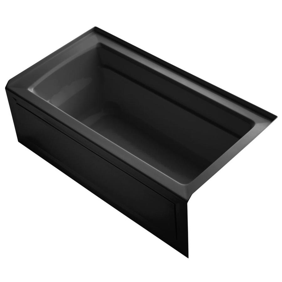 KOHLER Archer 60-in Black Black Acrylic Alcove Bathtub with Right-Hand Drain