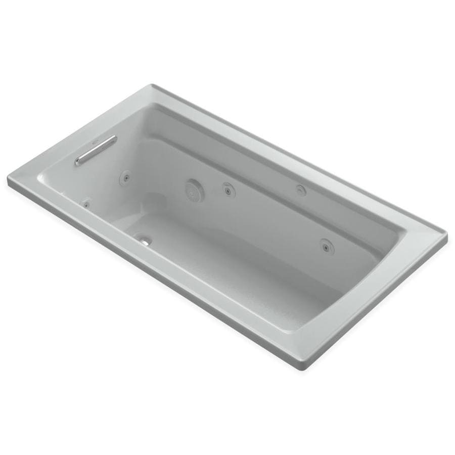 KOHLER Archer 60-in Ice Grey Acrylic Drop-In Whirlpool Tub with Reversible Drain