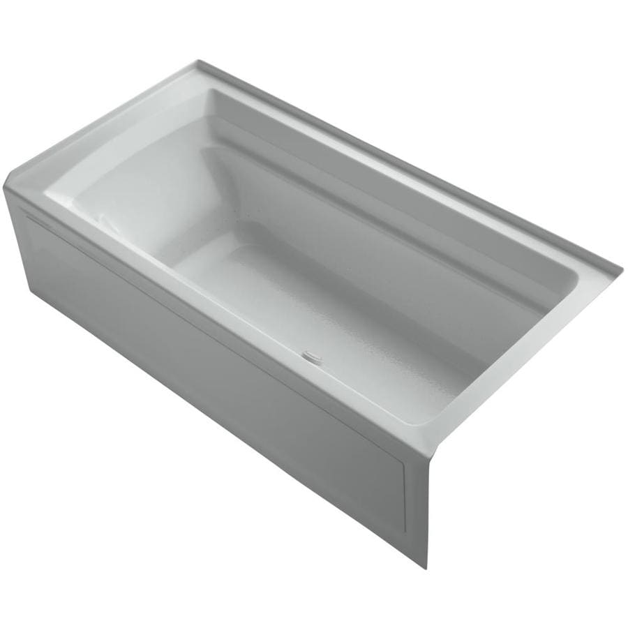 KOHLER Archer 72-in Ice Grey Acrylic Alcove Air Bath with Left-Hand Drain
