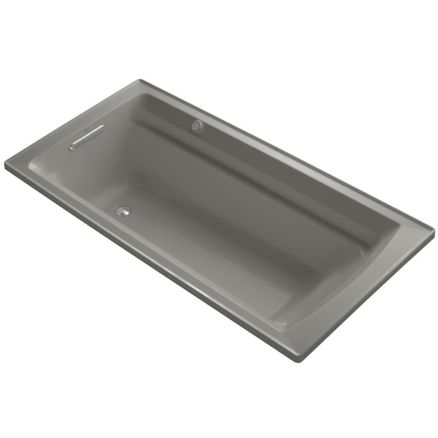 KOHLER Mariposa 72-in Cashmere Acrylic Alcove Air Bath with Right-Hand Drain
