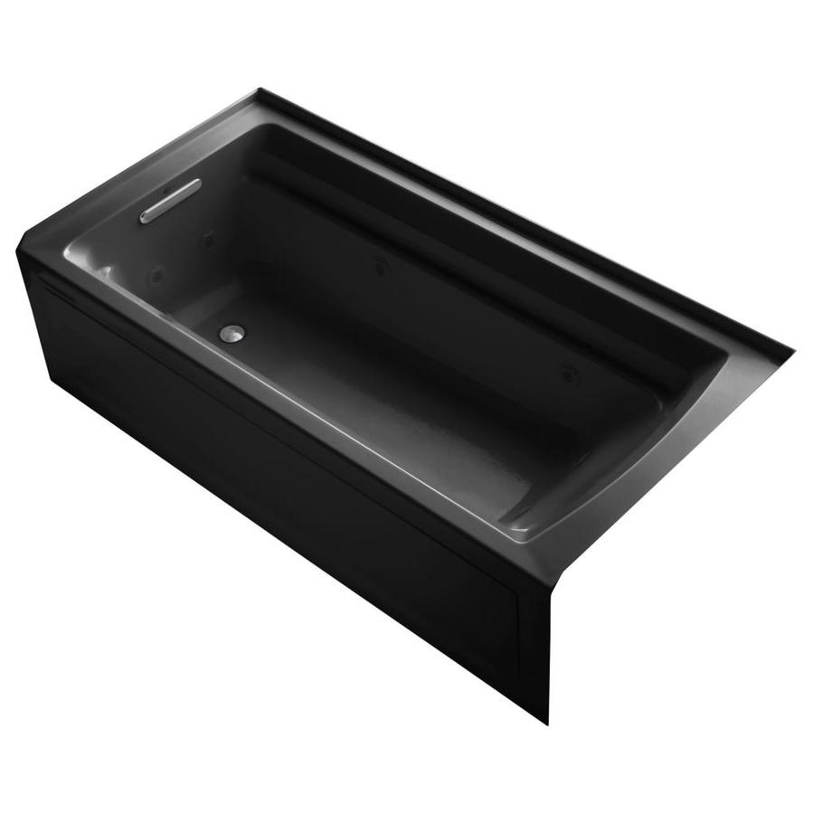 KOHLER Archer 72-in Black Black Acrylic Alcove Whirlpool Tub with Left-Hand Drain