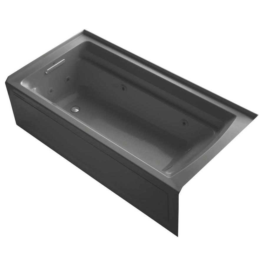 KOHLER Archer 72-in Thunder Grey Acrylic Alcove Whirlpool Tub with Left-Hand Drain