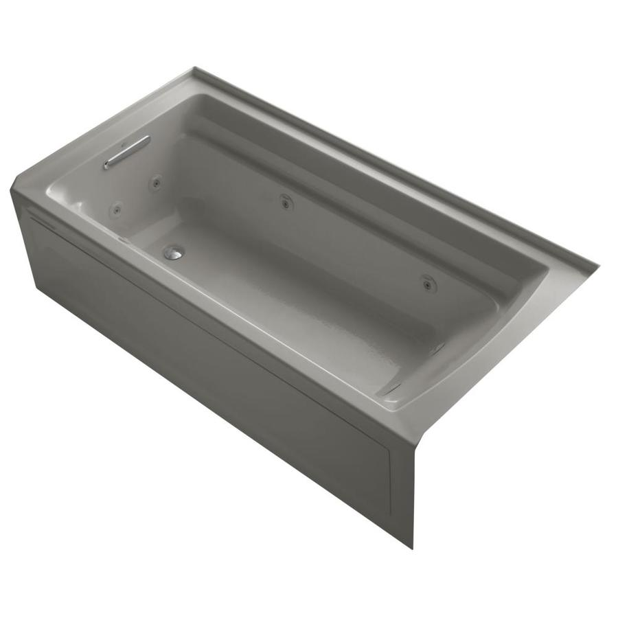 Shop KOHLER Archer 72 In Cashmere Acrylic Alcove Whirlpool Tub With Left Hand