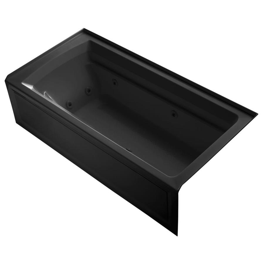 KOHLER Archer Black Black Acrylic Rectangular Whirlpool Tub (Common: 36-in x 72-in; Actual: 20.25-in x 36-in x 72-in)