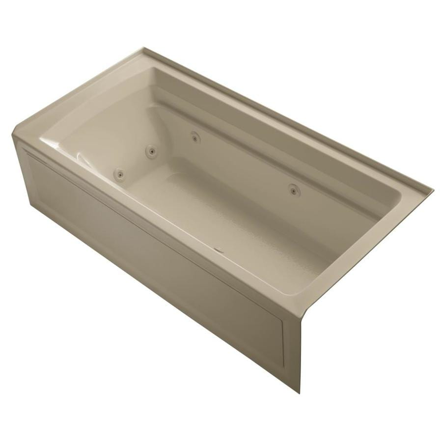 KOHLER Archer Mexican Sand Acrylic Rectangular Whirlpool Tub (Common: 36-in x 72-in; Actual: 20.25-in x 36-in x 72-in)