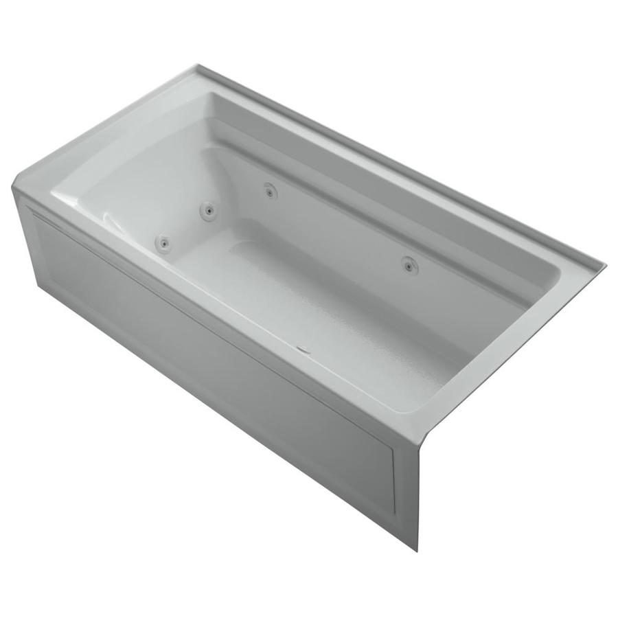 KOHLER Archer 72-in Ice Grey Acrylic Alcove Whirlpool Tub with Right-Hand Drain