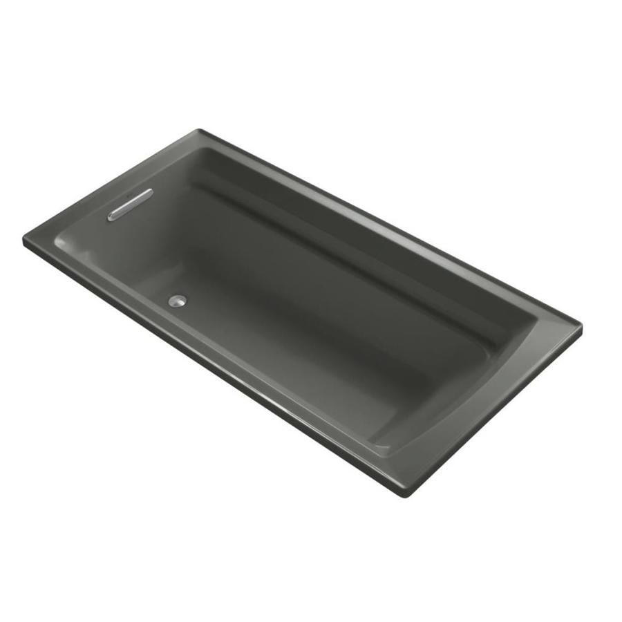 KOHLER Archer Thunder Grey Acrylic Rectangular Drop-in Bathtub with Reversible Drain (Common: 36-in x 72-in; Actual: 19-in x 36-in x 72-in)