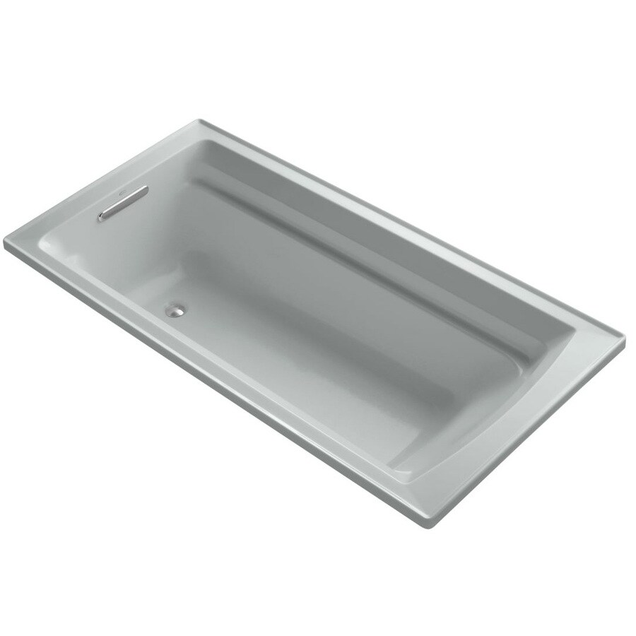 KOHLER Archer Ice Grey Acrylic Rectangular Drop-in Bathtub with Reversible Drain (Common: 36-in x 72-in; Actual: 19.0000-in x 36.0000-in x 72.0000-in)