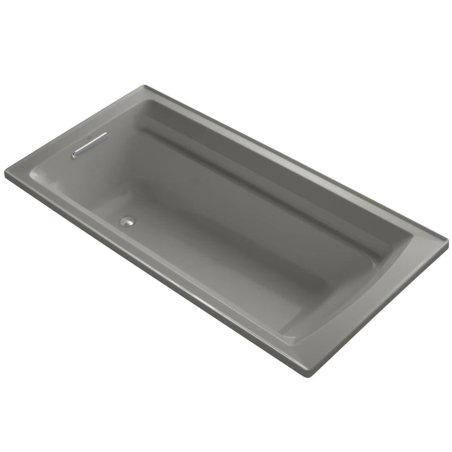 KOHLER Archer Cashmere Acrylic Rectangular Drop-in Bathtub with Reversible Drain (Common: 36-in x 72-in; Actual: 19-in x 36-in x 72-in)
