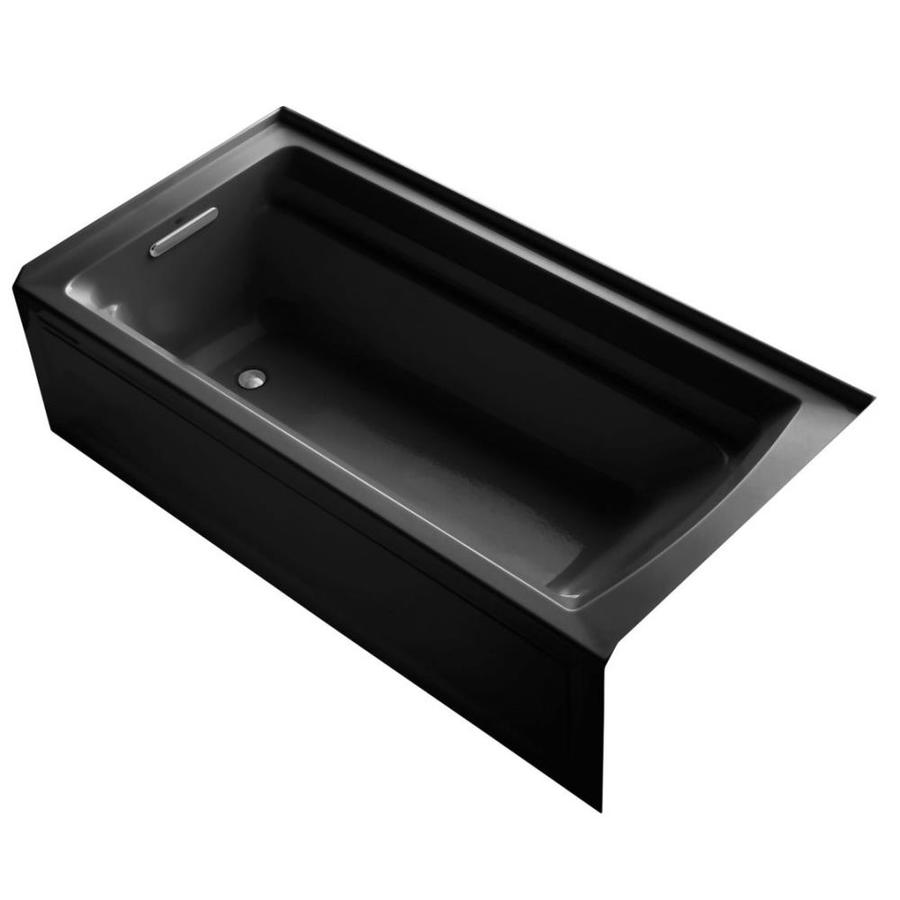 KOHLER Archer Black Black Acrylic Rectangular Alcove Bathtub with Reversible Drain (Common: 36-in x 72-in; Actual: 20.25-in x 36-in x 72-in)