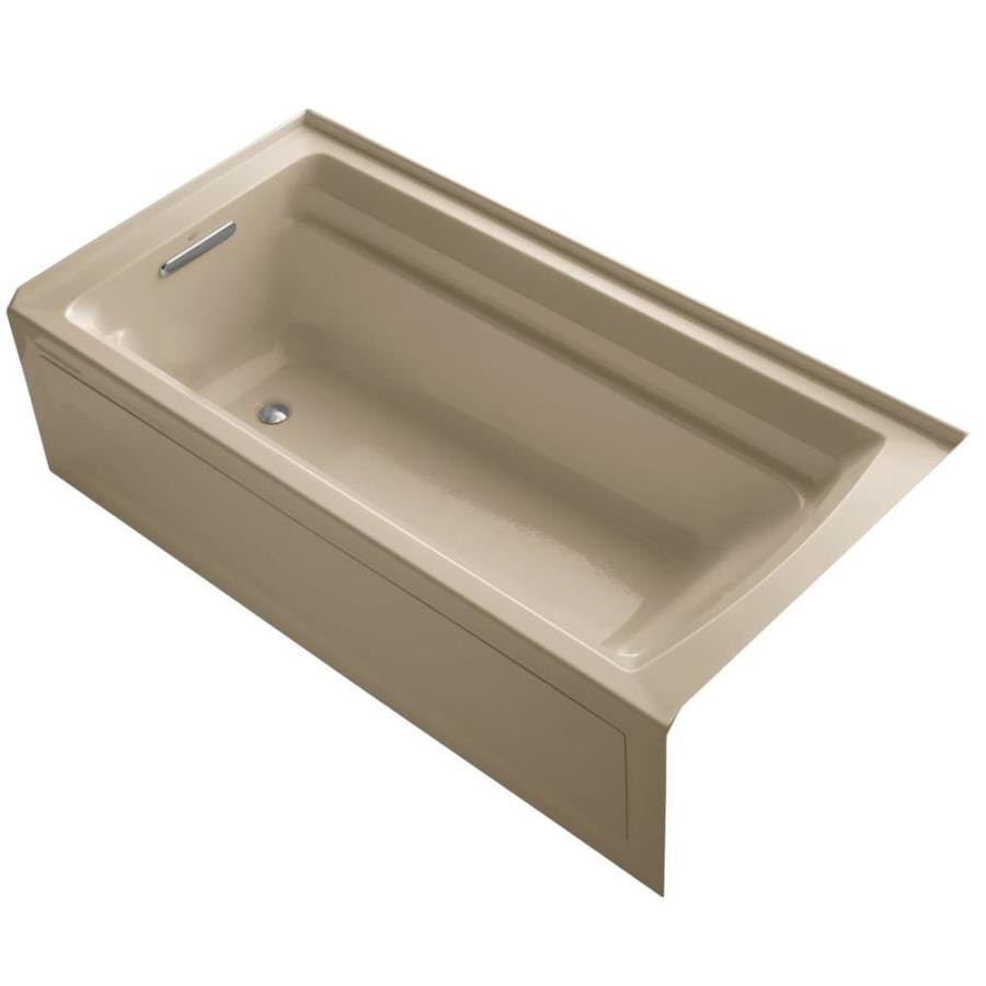 KOHLER Archer Mexican Sand Acrylic Rectangular Alcove Bathtub with Reversible Drain (Common: 36-in x 72-in; Actual: 20.25-in x 36-in x 72-in)