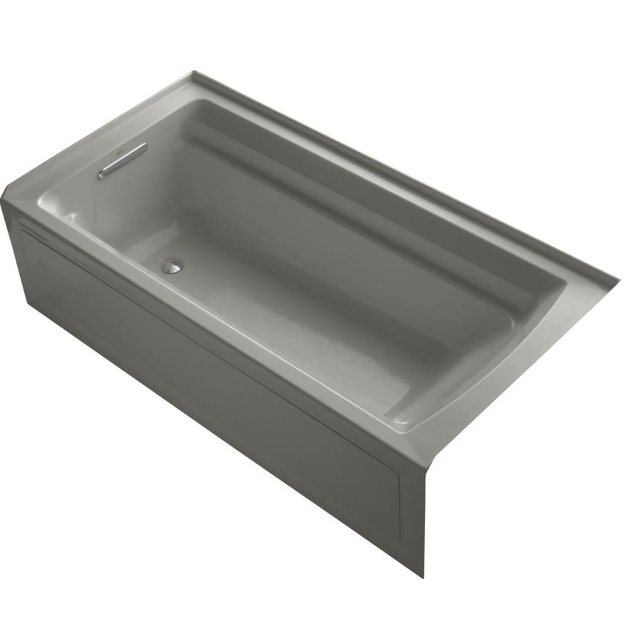 KOHLER Archer 72-in Cashmere Acrylic Alcove Bathtub with Reversible Drain