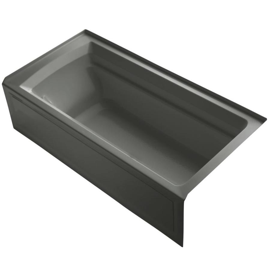 KOHLER Archer Thunder Grey Acrylic Rectangular Alcove Bathtub with Reversible Drain (Common: 36-in x 72-in; Actual: 20.25-in x 36-in x 72-in)