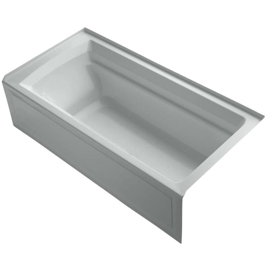 KOHLER Archer Ice Grey Acrylic Rectangular Alcove Bathtub with Reversible Drain (Common: 36-in x 72-in; Actual: 20.25-in x 36-in x 72-in)