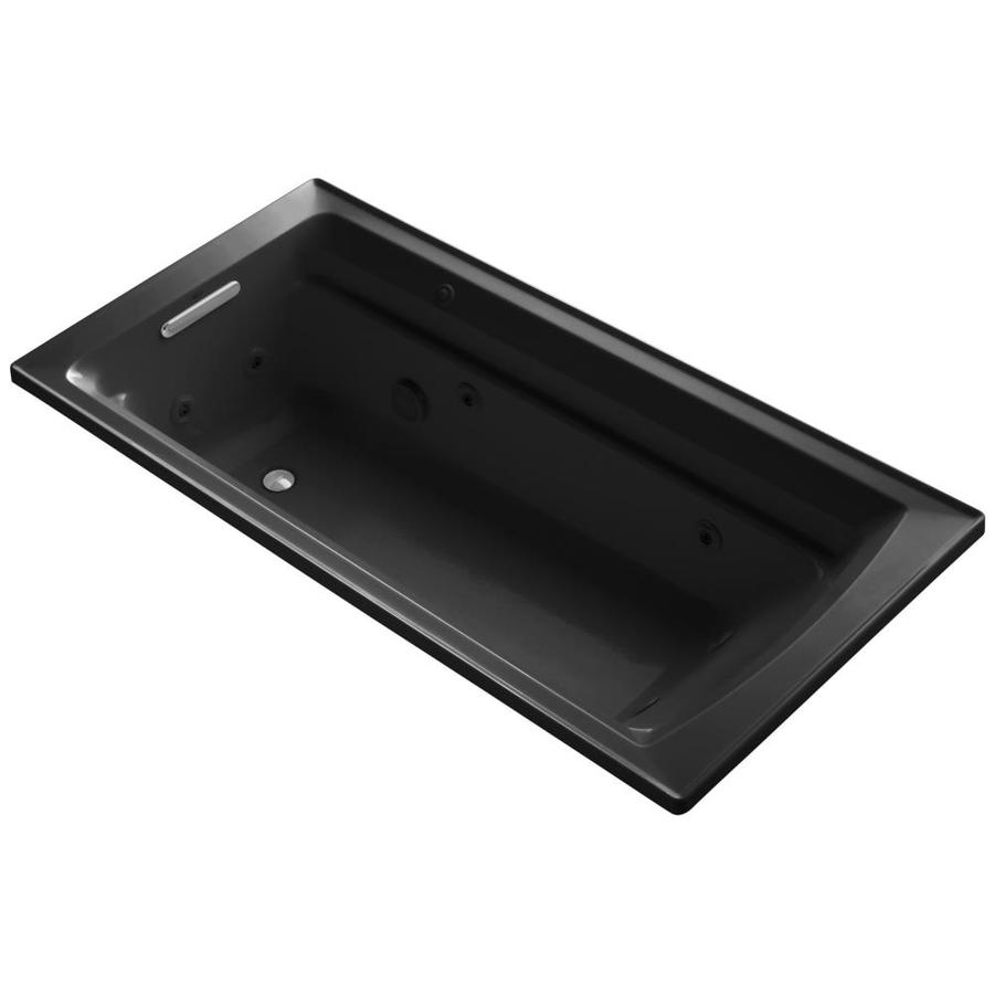 KOHLER Archer Black Black Acrylic Rectangular Whirlpool Tub (Common: 36-in x 72-in; Actual: 19.0000-in x 36.0000-in x 72.0000-in)
