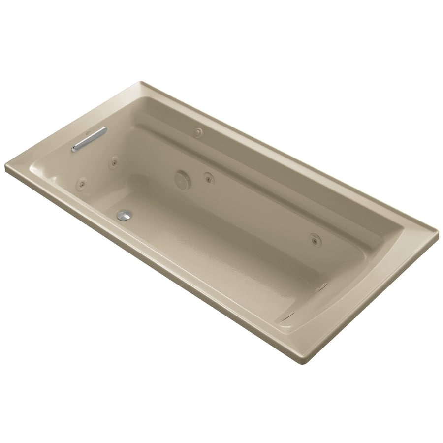 KOHLER Archer Mexican Sand Acrylic Rectangular Drop-in Whirlpool Tub (Common: 36-in x 72-in; Actual: 19-in x 36-in)