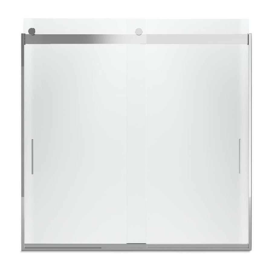 KOHLER Levity 57-in W x 59.75-in H Bright Silver Frameless Bathtub Door