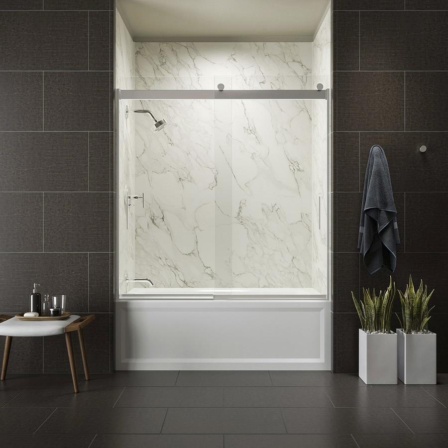 KOHLER Levity 59.625-in W x 59.75-in H Bright Silver Frameless Bathtub Door