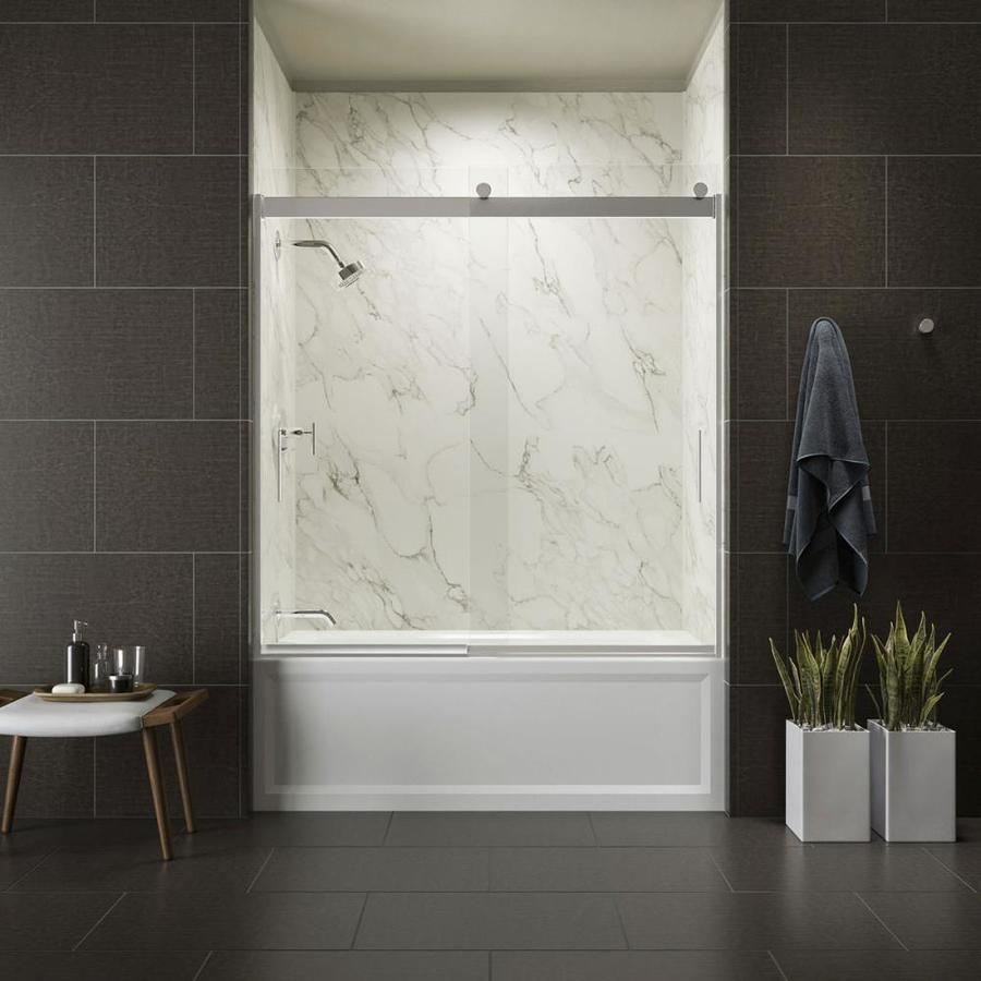 KOHLER Levity 59.625-in W x 62-in H Bright Polished Silver Frameless Bathtub Door