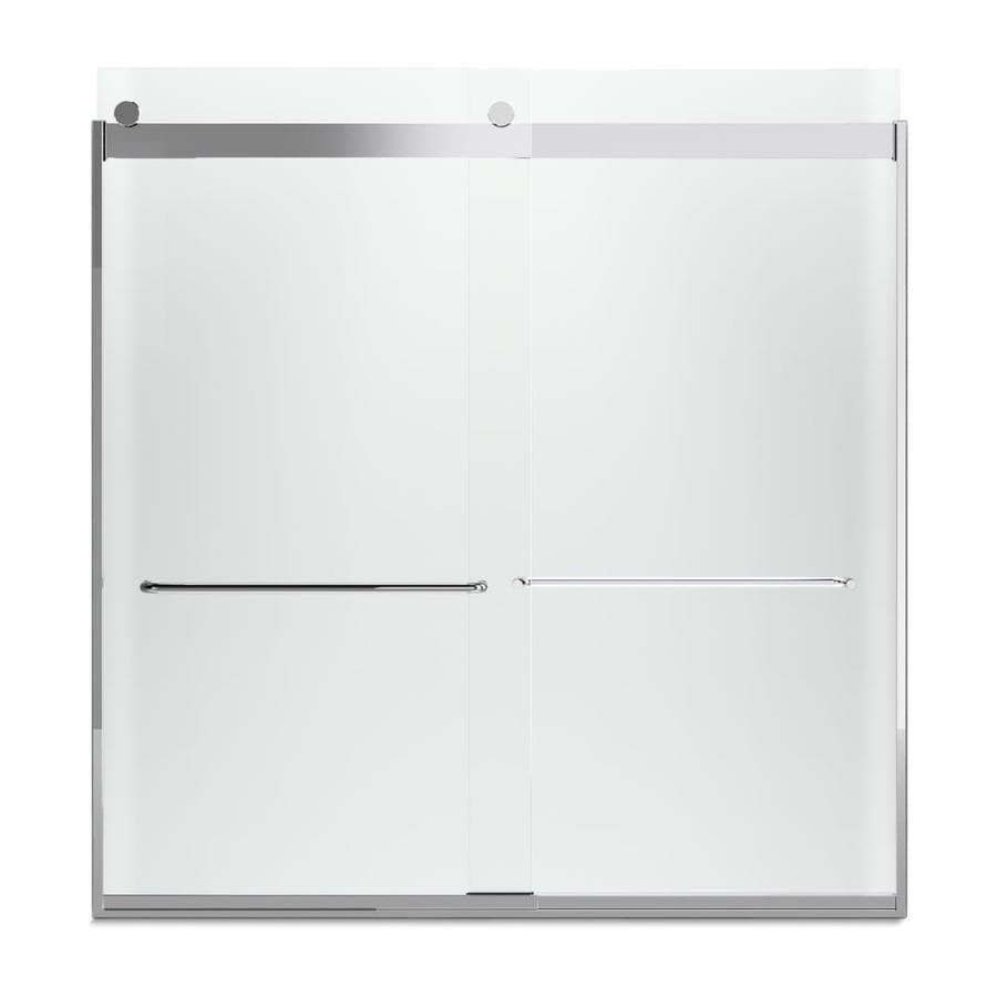KOHLER Levity 59.625-in W x 62-in H Bright Silver Frameless Bathtub Door