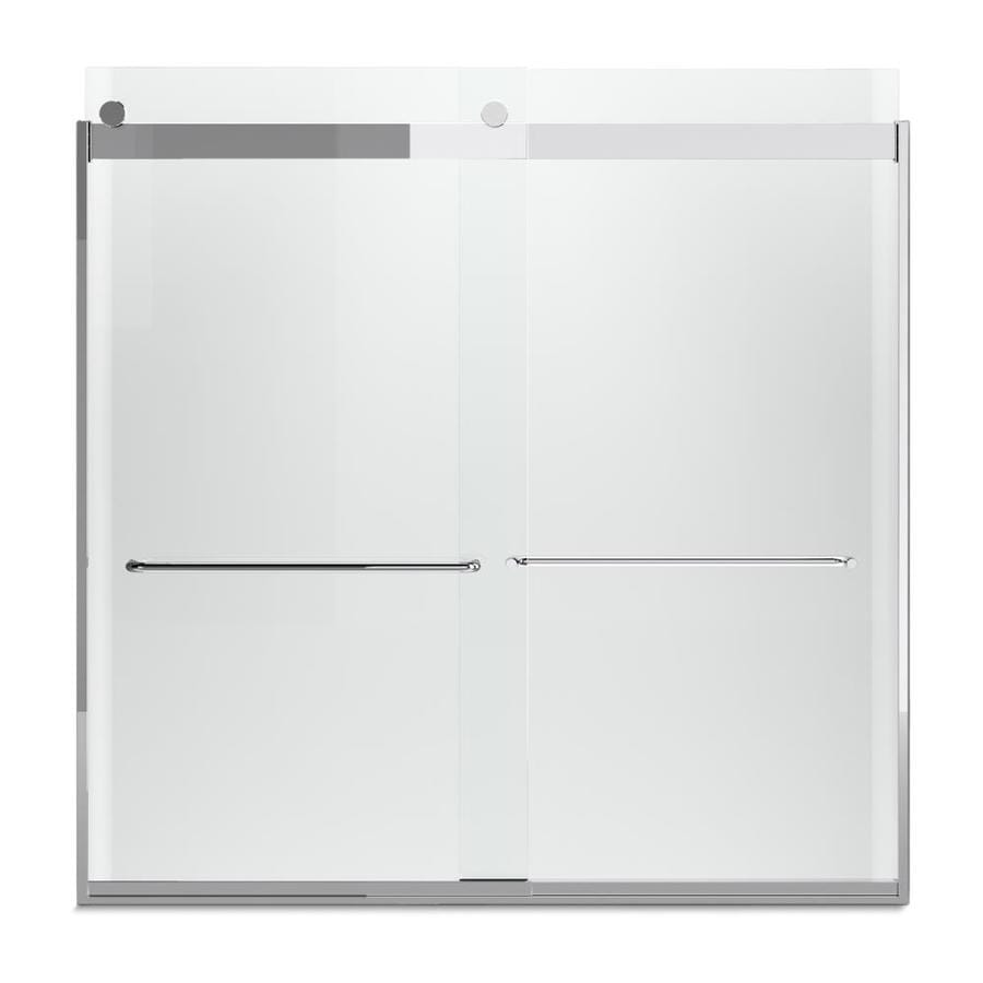 KOHLER Levity 57-in W x 59.75-in H Bright Silver Frameless Bathtub Door