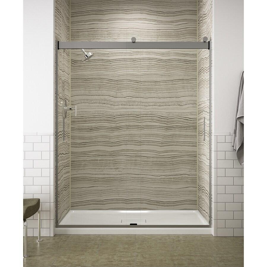 KOHLER Levity 57.25-in to 59.625-in Frameless Bright Silver Sliding Shower Door