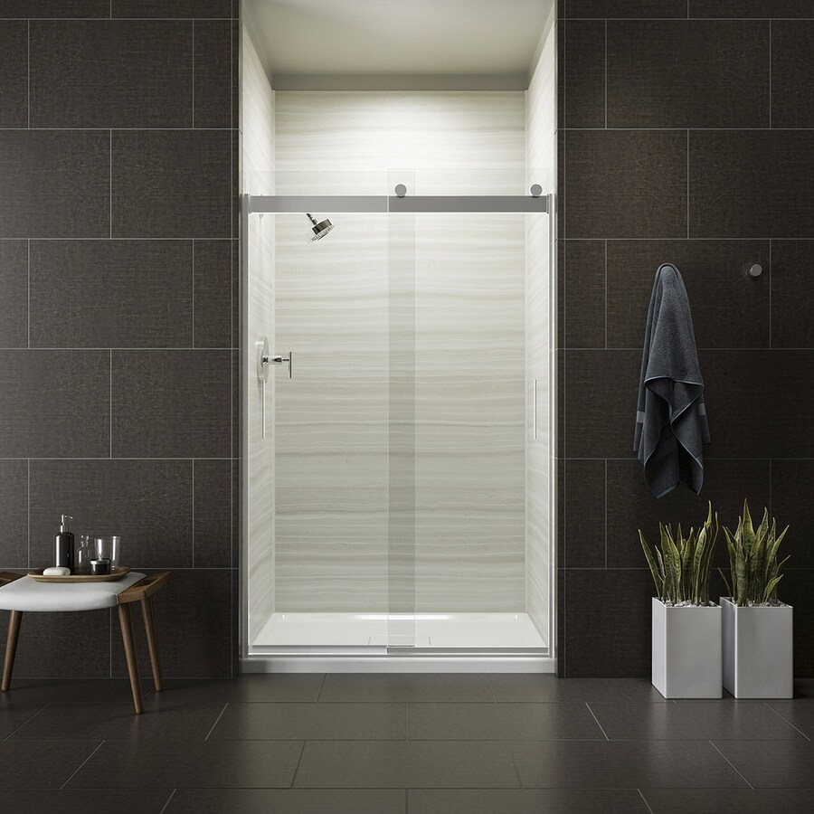 KOHLER Levity 44-in to 47-in W x 74-in H Bright Polished Silver Sliding Shower Door