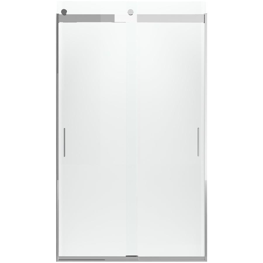 KOHLER Levity 44.625-in to 47.625-in Frameless Bright Polished Silver Sliding Shower Door