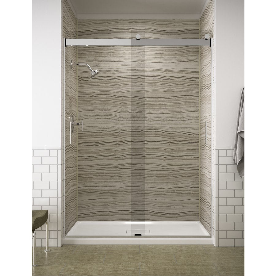 KOHLER Levity 56-in to 59-in W x 82-in H Bright Polished Silver Sliding Shower Door