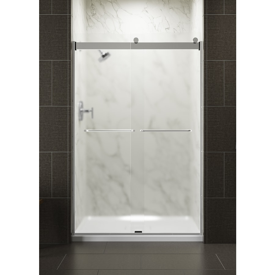 KOHLER Levity 44.625-in to 47.625-in Frameless Bright Silver Sliding Shower Door