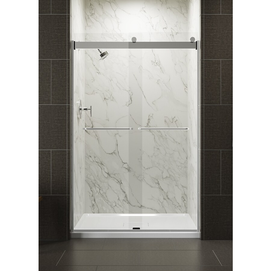 KOHLER Levity 44-in to 47-in Frameless Bright Silver Sliding Shower Door