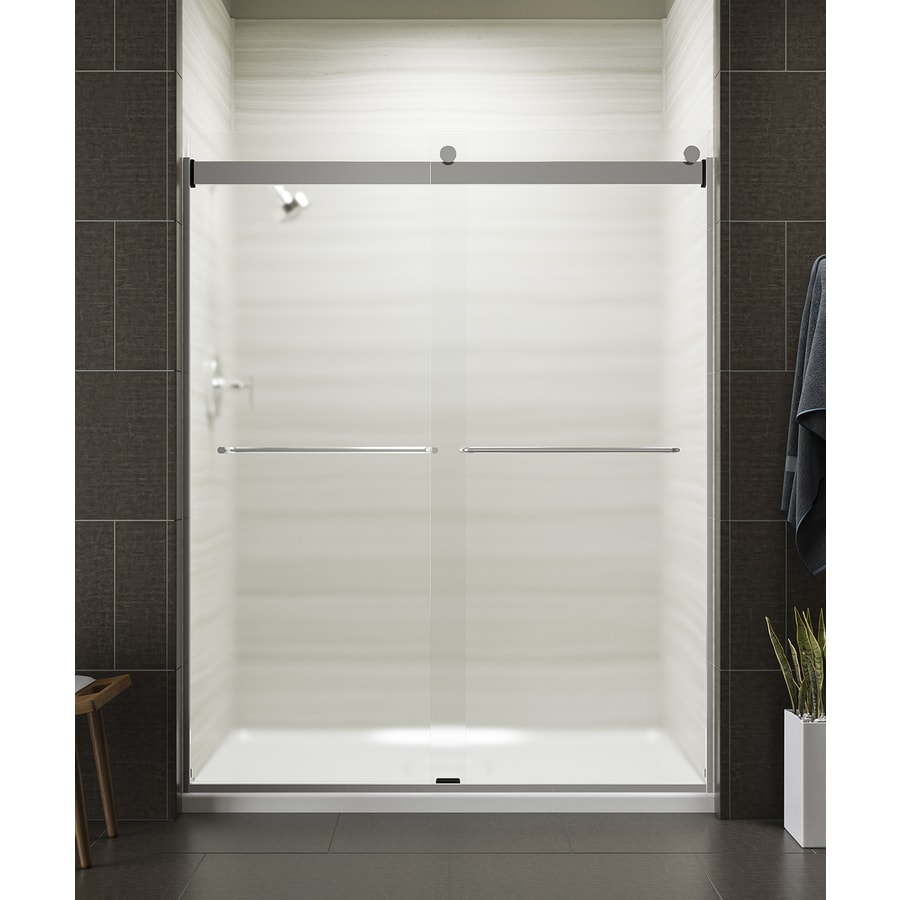 KOHLER Levity 56.625-in to 59.625-in Frameless Bright Silver Sliding Shower Door
