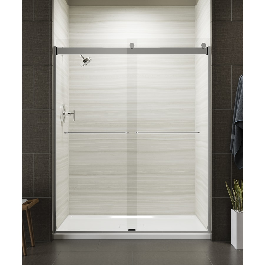 KOHLER Levity 56-in to 59-in W x 74-in H Bright Silver Sliding Shower Door