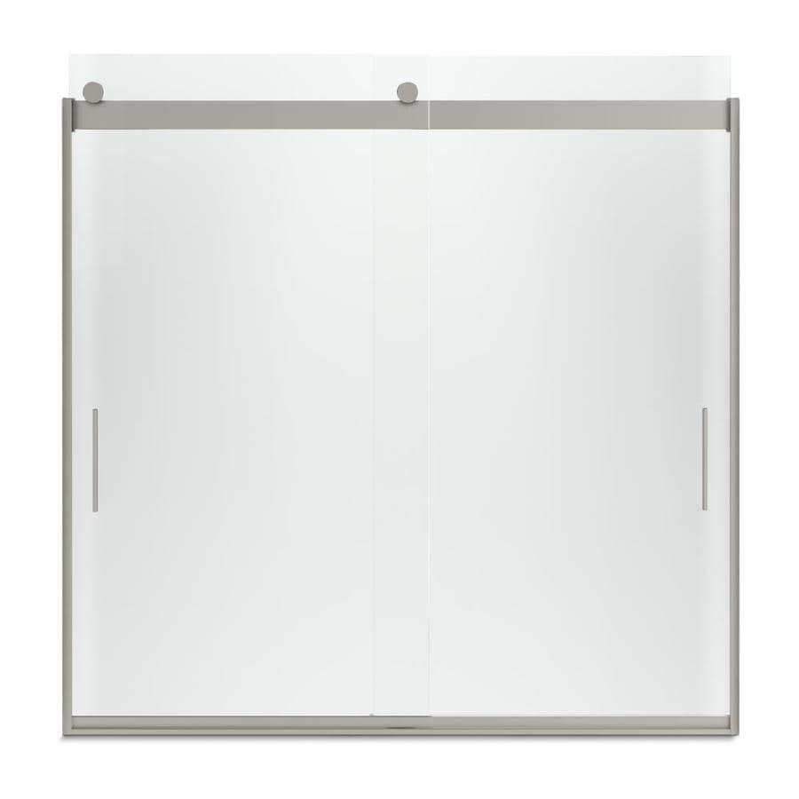 KOHLER Levity 57-in W x 59.75-in H Matte Nickel Frameless Bathtub Door