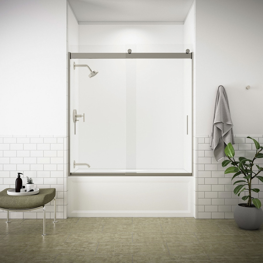 KOHLER Levity 59.625-in W x 59.75-in H Matte Nickel Frameless Bathtub Door