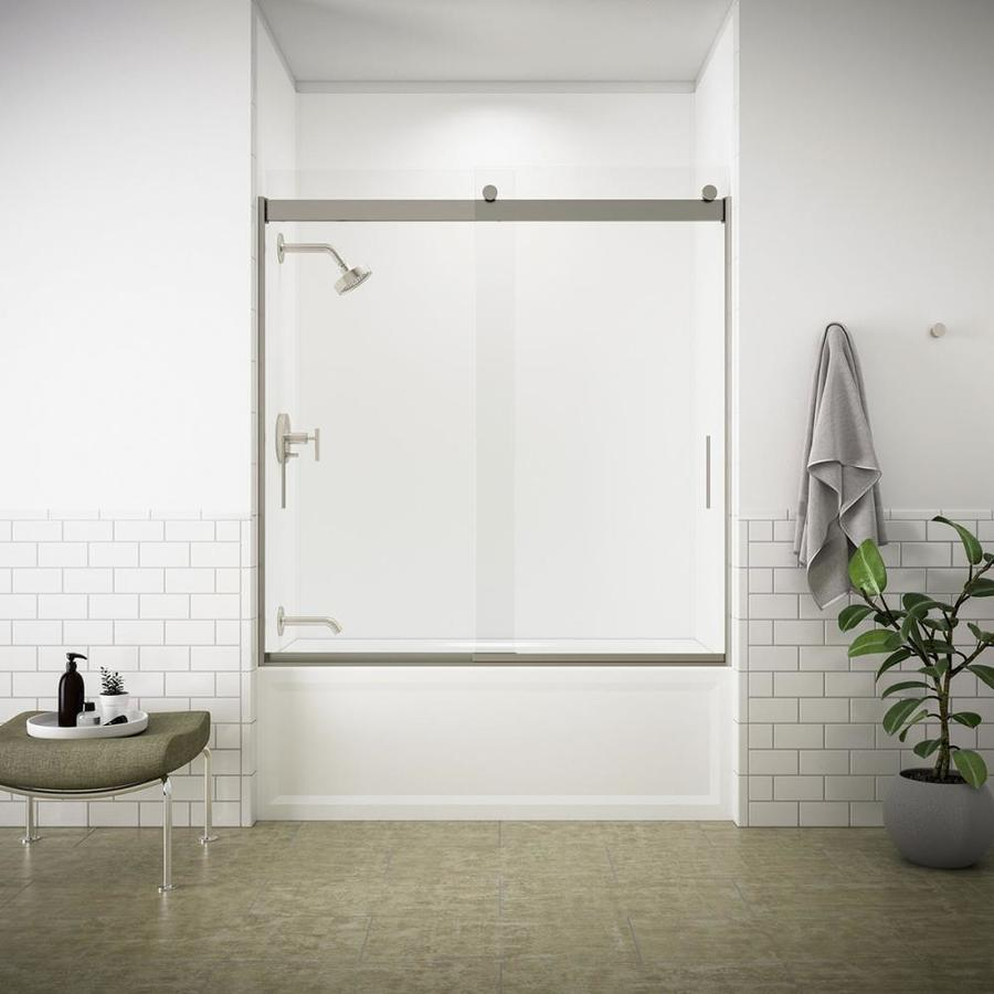 KOHLER Levity 59.625-in W x 62-in H Brushed Nickel Frameless Bathtub Door