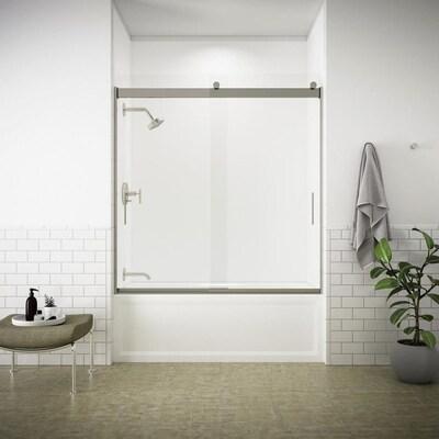 Levity 56 625 In To 59 W Frameless Byp Sliding Brushed Nickel Bathtub Door