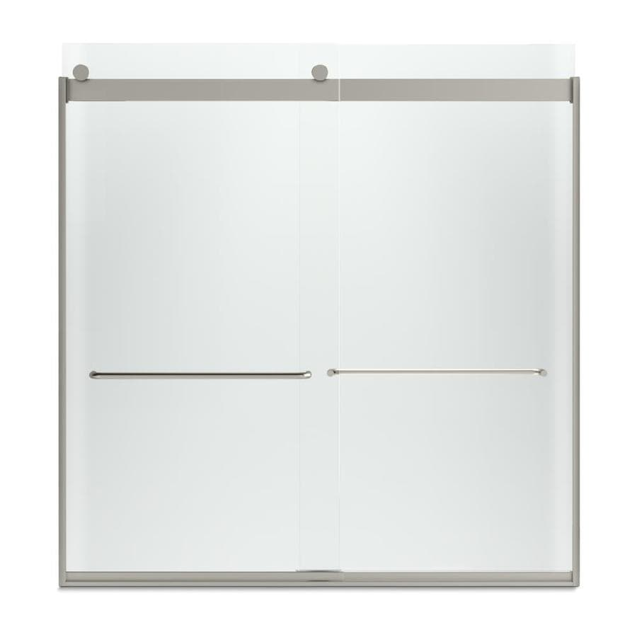 KOHLER Levity 59.625-in W x 62-in H Matte Nickel Frameless Bathtub Door