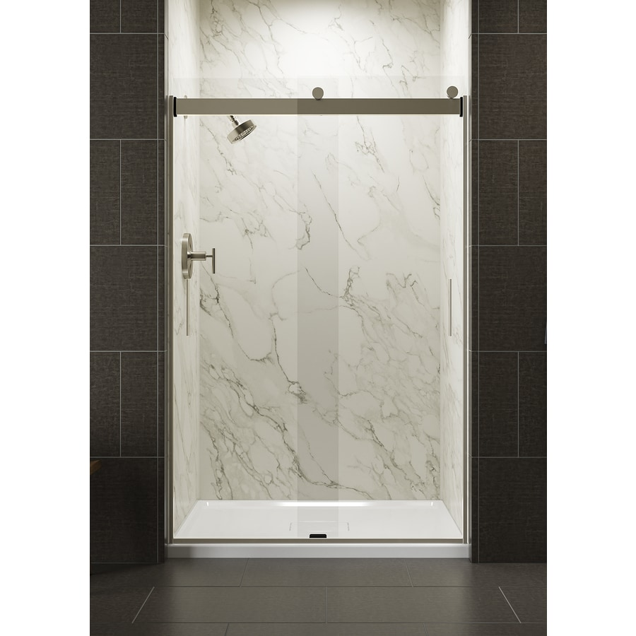 KOHLER Levity 43.625-in to 47.625-in W Frameless Matte Nickel Sliding Shower Door