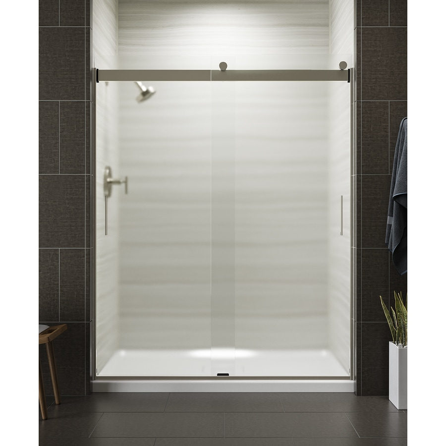 KOHLER Levity 56.625-in to 59.625-in Frameless Matte Nickel Sliding Shower Door