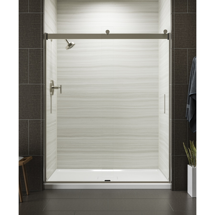 KOHLER Levity 57.25-in to 59.625-in Frameless Matte Nickel Sliding Shower Door
