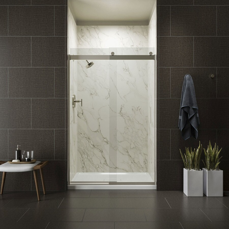 KOHLER Levity 44.625-in to 47.625-in W Frameless Brushed Nickel Sliding Shower Door