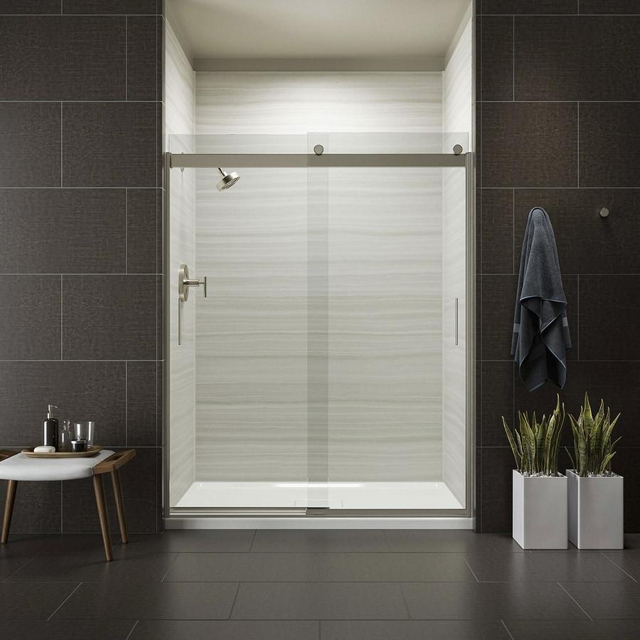 KOHLER Levity 56.625-in to 59.625-in W Frameless Brushed Nickel Sliding Shower Door