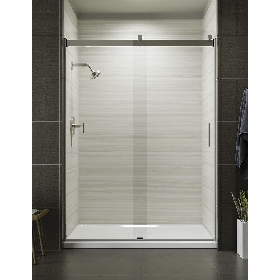 KOHLER Levity 56.625 In To 59.625 In W Frameless Brushed Nickel Sliding  Shower Door