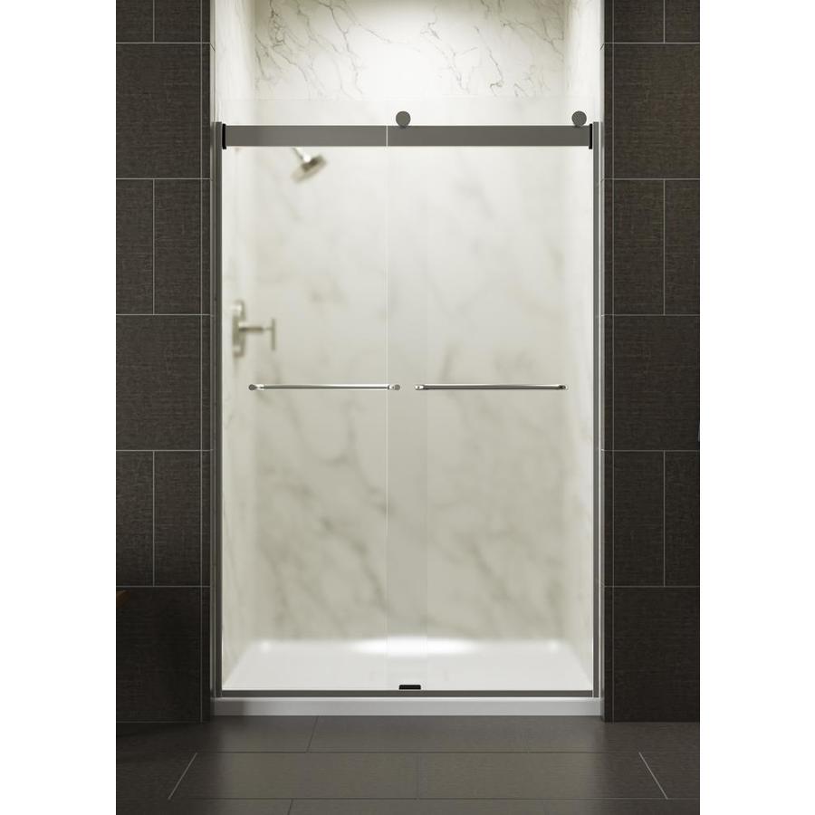 KOHLER Levity 44.625-in to 47.625-in Frameless Matte Nickel Sliding Shower Door