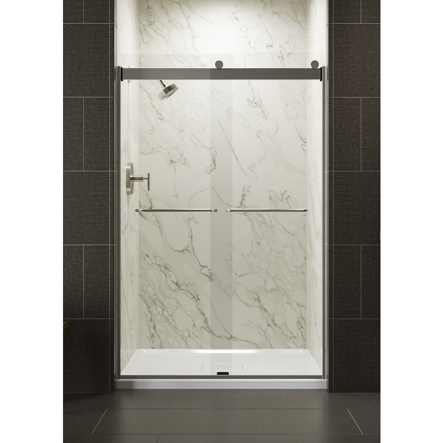 KOHLER Levity 44-in to 47-in W x 74-in H Matte Nickel Sliding Shower Door