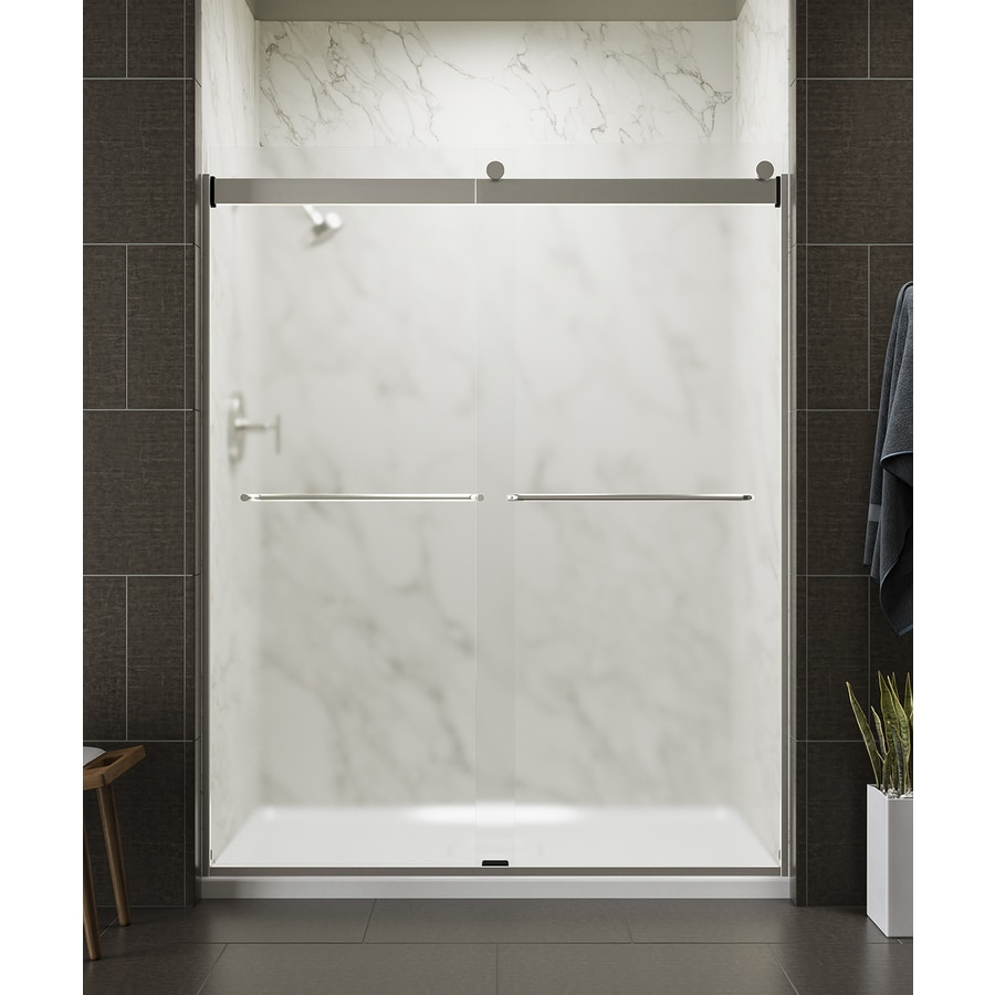 KOHLER Levity 56.625-in to 59.625-in W Frameless Matte Nickel Sliding Shower Door