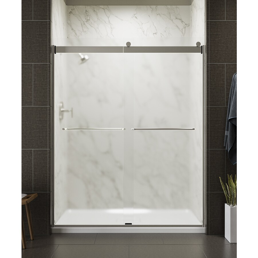 KOHLER Levity 56-in to 59-in W x 74-in H Matte Nickel Sliding Shower Door