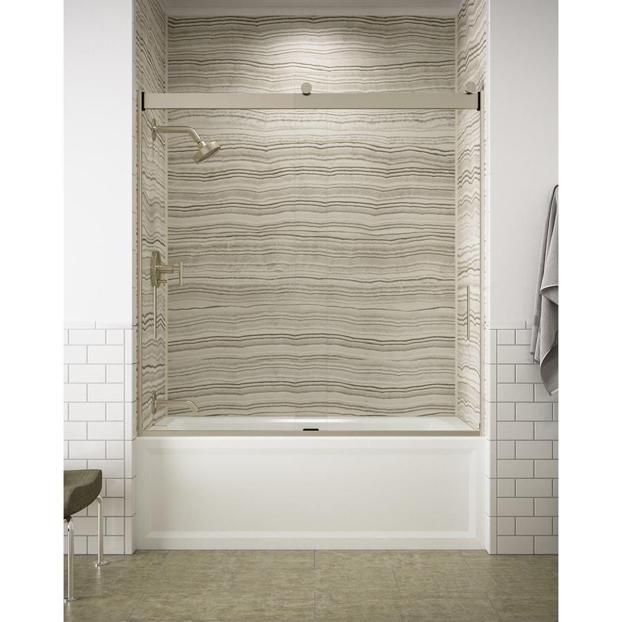 KOHLER Levity 59.625-in W x 62-in H Brushed Bronze  Bathtub Door